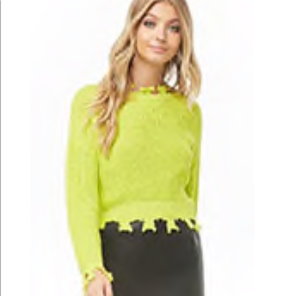 80a24574a26bb5 Neon yellow crop top sweater. NWT. Forever 21